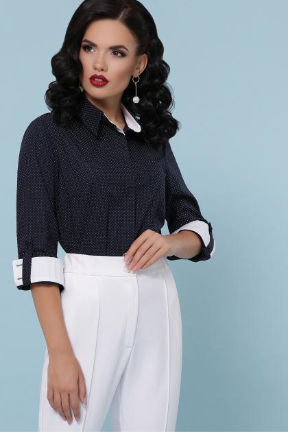 синяя офисная рубашка. блуза Вендис д/р. Цвет: синий-бел.м.горох-белый