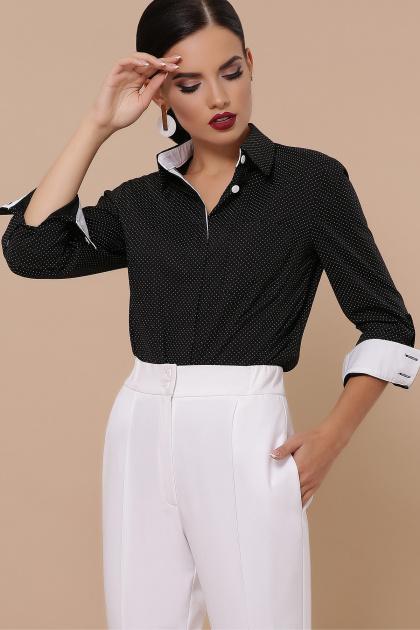 синяя офисная рубашка. блуза Вендис д/р. Цвет: черный-бел.м.горох-белый