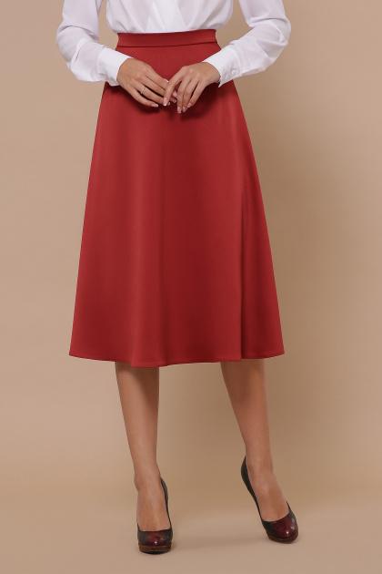 черная атласная юбка. юбка мод. №38. Цвет: терракот
