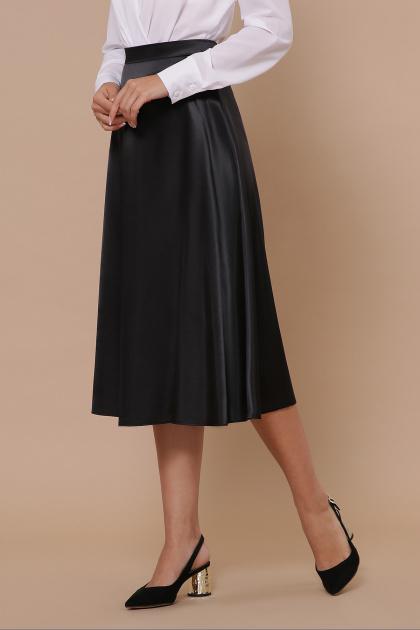 черная атласная юбка. юбка мод. №38. Цвет: черный