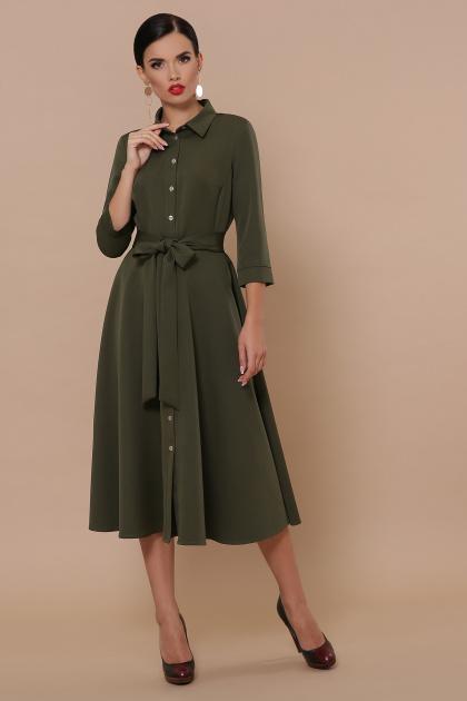 приталенное бордовое платье. платье Ефимия д/р. Цвет: хаки
