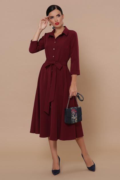 приталенное бордовое платье. платье Ефимия д/р. Цвет: бордо