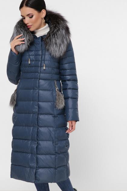 длинная куртка на зиму. Куртка 1801. Цвет: 67-волна