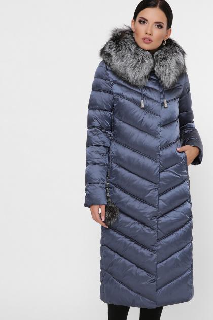 длинная коричневая куртка. Куртка 19-59. Цвет: 24-серо-синий