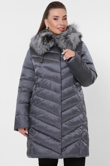 батальная куртка с мехом. Куртка 19-60-Б. Цвет: 15-графит