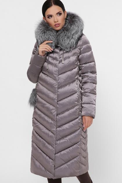 длинная коричневая куртка. Куртка 19-59. Цвет: 8-серый-металл