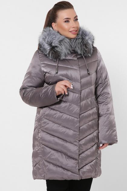 батальная куртка с мехом. Куртка 19-60-Б. Цвет: 8-серо-коричневый