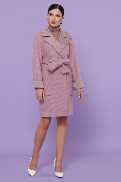 двубортное темно-серое пальто. Пальто П-347-М-90. Цвет: 8-А-розовый