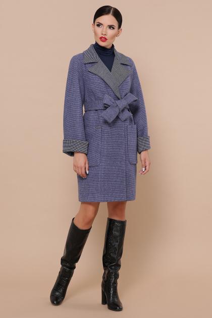 двубортное темно-серое пальто. Пальто П-347-М-90. Цвет: 11-синий