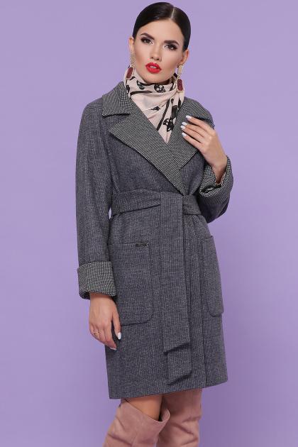 двубортное темно-серое пальто. Пальто П-347-М-90. Цвет: 12-т.серый