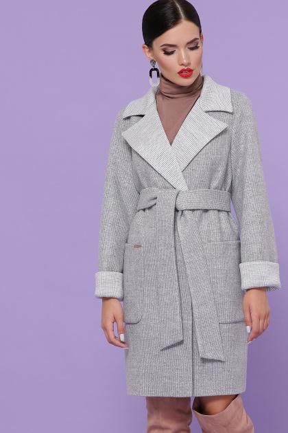 двубортное темно-серое пальто. Пальто П-347-М-90. Цвет: 15-св.серый