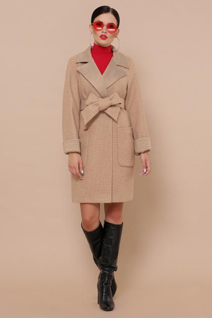 двубортное темно-серое пальто. Пальто П-347-М-90. Цвет: 5-бежевый