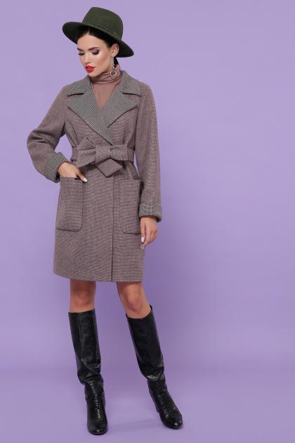 двубортное темно-серое пальто. Пальто П-347-М-90. Цвет: 7-т.бежевый
