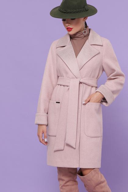 двубортное темно-серое пальто. Пальто П-347-М-90. Цвет: 3-пудра