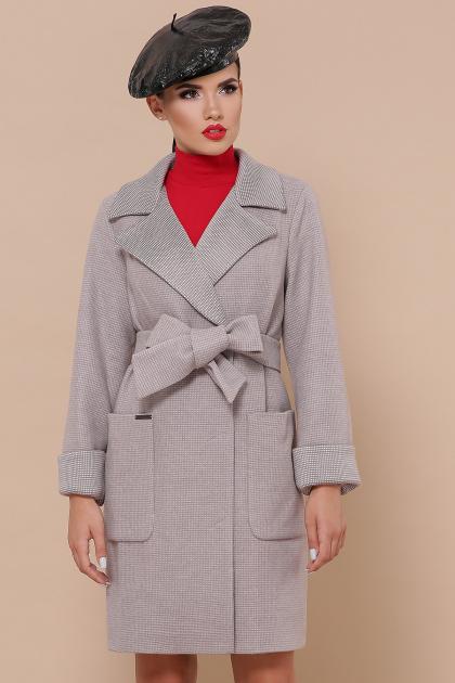 двубортное темно-серое пальто. Пальто П-347-М-90. Цвет: 8-св.бежевый