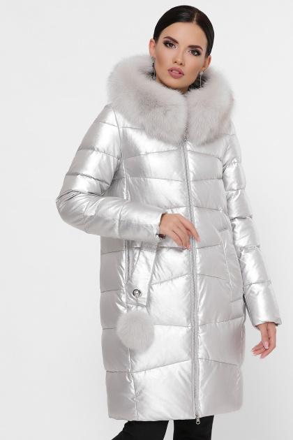 золотистая куртка на зиму. Куртка М-18-138. Цвет: 22-серебро