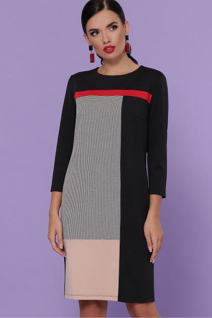 черное платье с контрастными вставками. платье Ассоль д/р. Цвет: черный