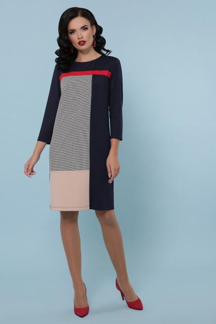черное платье с контрастными вставками. платье Ассоль д/р. Цвет: синий