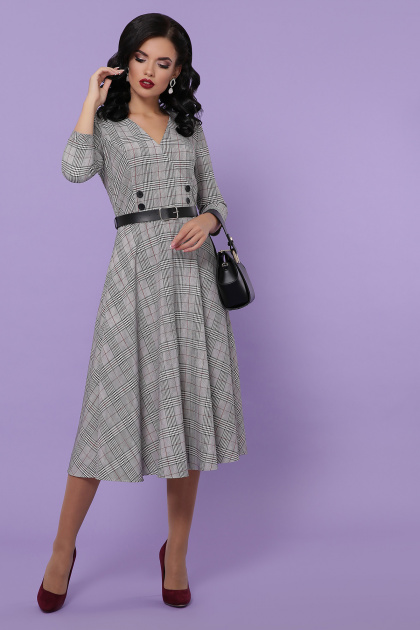 клетчатое платье для офиса. платье Киана-К д/р. Цвет: клетка серая-красная пол.