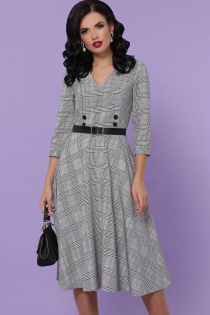 офисное платье в клетку. платье Киана-К д/р. Цвет: клетка серая-синяя пол.