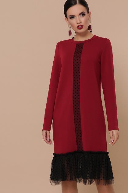 бордовое платье с фатином. Платье Касия д/р. Цвет: бордо
