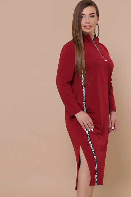 бордовое платье для пышных женщин. платье Джилл-Б д/р. Цвет: бордо
