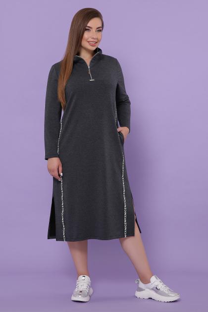 бордовое платье для пышных женщин. платье Джилл-Б д/р. Цвет: темно серый