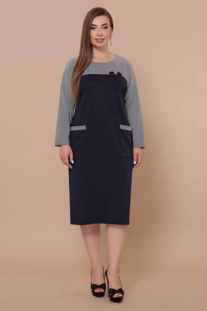 синее платье батал. Платье Джоси-Б д/р. Цвет: синий-лапка м.черная