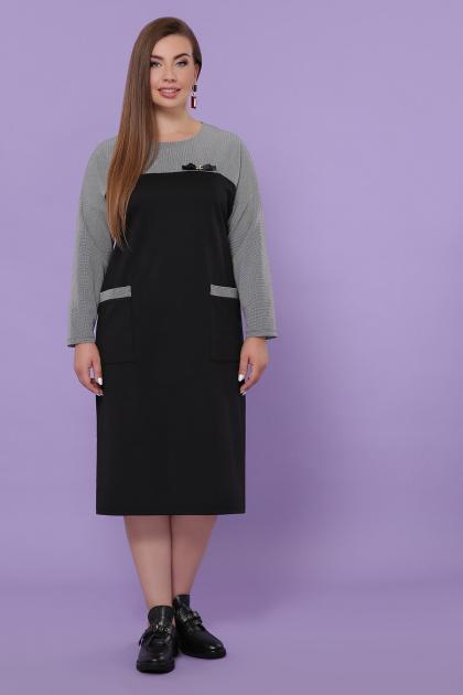 синее платье батал. Платье Джоси-Б д/р. Цвет: черный-лапка м.черная
