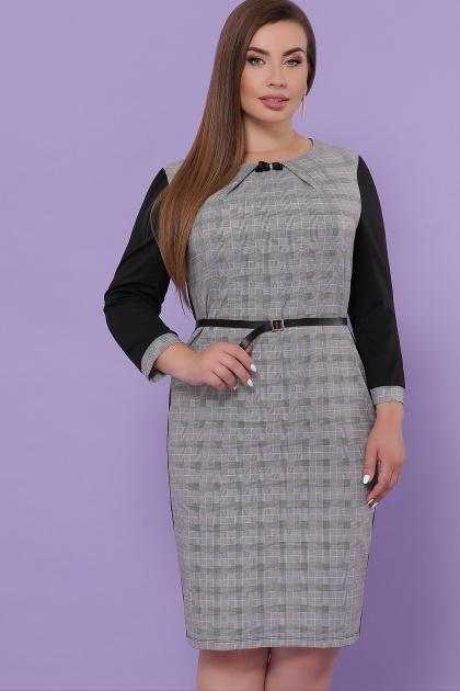 батальное платье для офиса. платье Каталея-Б д/р. Цвет: черный-клетка сер-розов