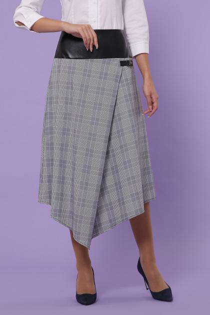 офисная юбка в клетку. юбка мод. №39. Цвет: клетка серая-голубая пол.