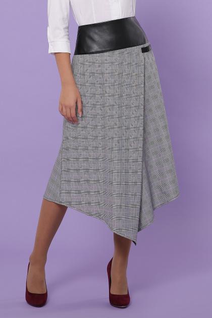 офисная юбка в клетку. юбка мод. №39. Цвет: клетка серый-розовый