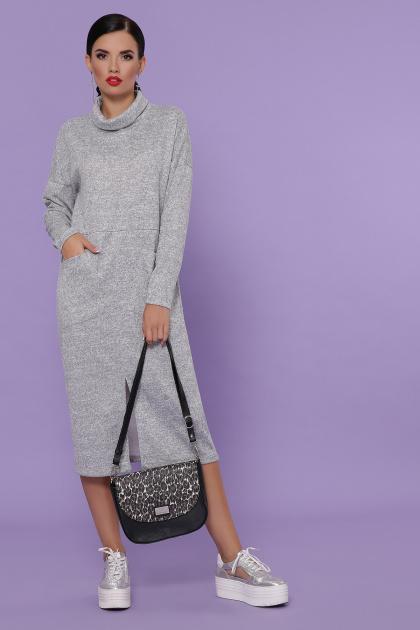 персиковое платье с воротником хомут. платье Дакота д/р. Цвет: серый