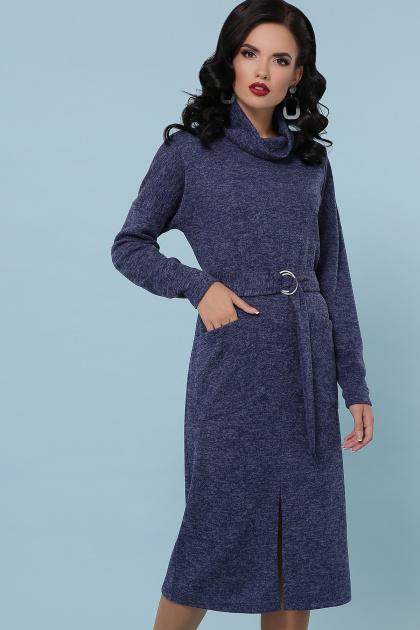 персиковое платье с воротником хомут. платье Дакота д/р. Цвет: синий