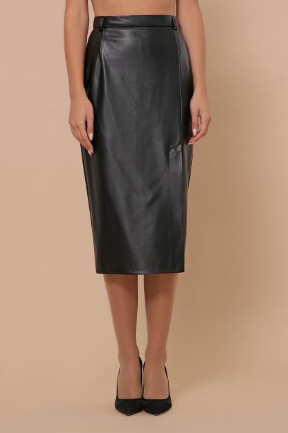 синяя кожаная юбка. юбка мод. №40. Цвет: черный