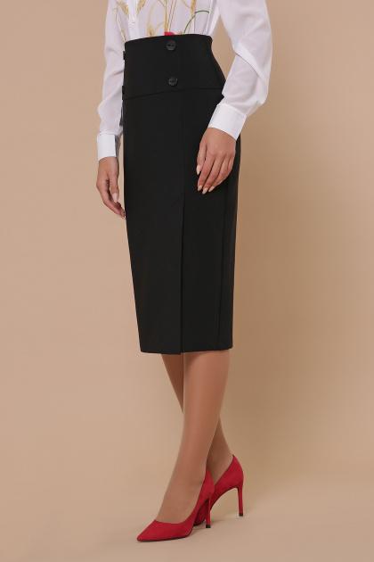 черная юбка ниже колена. юбка мод. №42. Цвет: черный