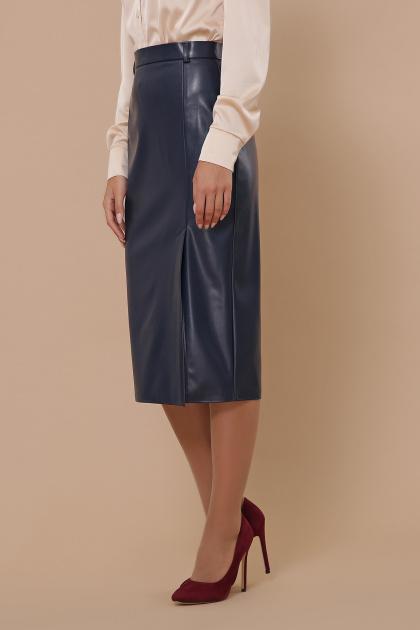 синяя кожаная юбка. юбка мод. №40. Цвет: синий