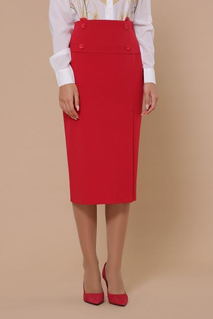 черная юбка ниже колена. юбка мод. №42. Цвет: красный