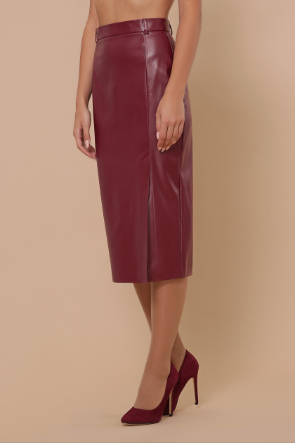 синяя кожаная юбка. юбка мод. №40. Цвет: бордо
