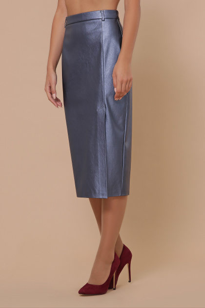 синяя кожаная юбка. юбка мод. №40. Цвет: синий перламутр