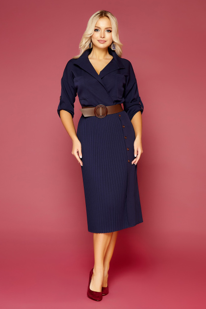 синее платье плиссе. платье Заира д/р. Цвет: синий