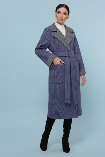 темно-серое шерстяное пальто. Пальто П-347-110. Цвет: 11-синий