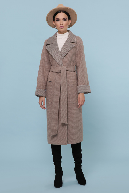темно-серое шерстяное пальто. Пальто П-347-110. Цвет: 1-коричневый