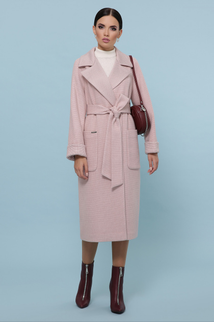 темно-серое шерстяное пальто. Пальто П-347-110. Цвет: 3-пудра