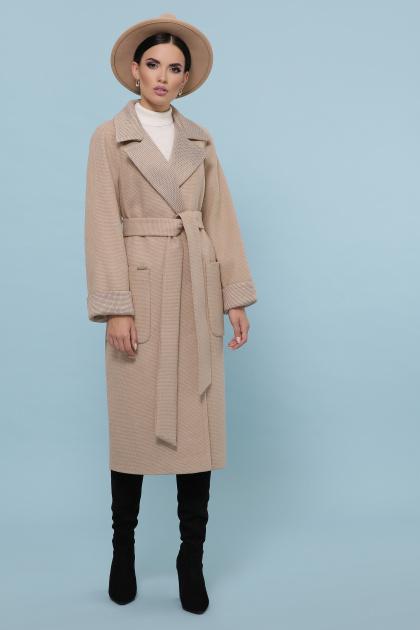 темно-серое шерстяное пальто. Пальто П-347-110. Цвет: 5-бежевый