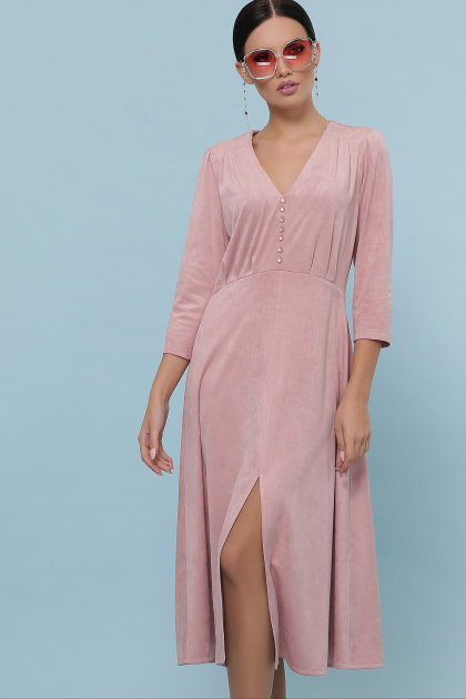изумрудное платье из замши. платье Ариадна д/р. Цвет: пудра