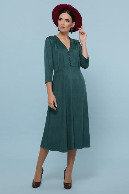 изумрудное платье из замши. платье Ариадна д/р. Цвет: изумруд