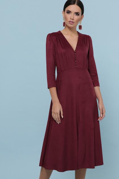 изумрудное платье из замши. платье Ариадна д/р. Цвет: бордо