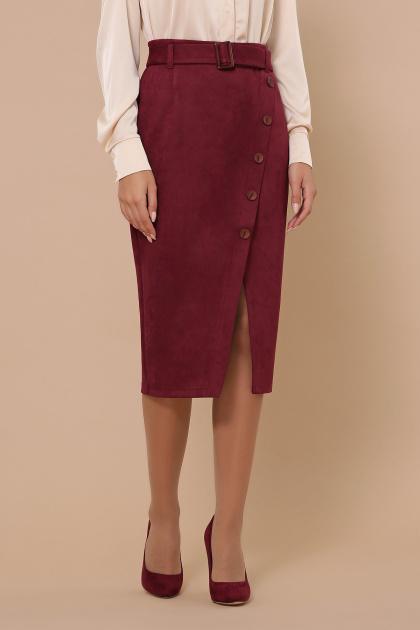 синяя юбка из замши. юбка мод. №41. Цвет: бордо