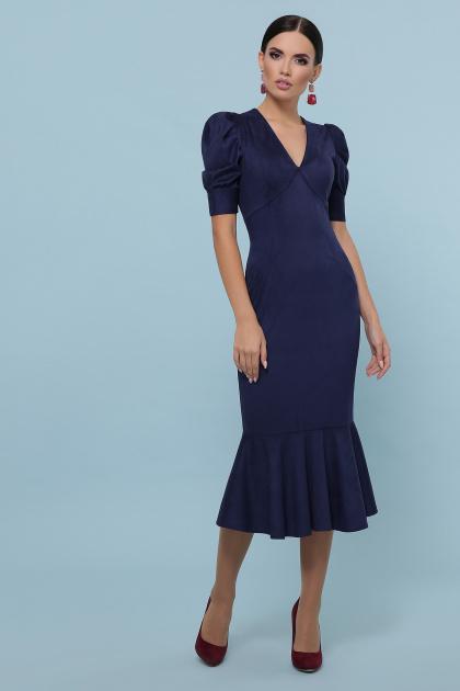бежевое платье из замши. платье Дания к/р. Цвет: синий